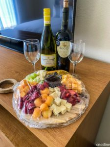 wine and cheese board in room amenity